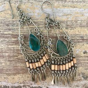 Earrings, boho silver with turquoise...fun!